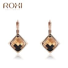ROXI 2018 Women Earrings Champagne Rose Gold orecchini donn Large Crystal Stud Earrings Fashion Jewelry aretes Dropship