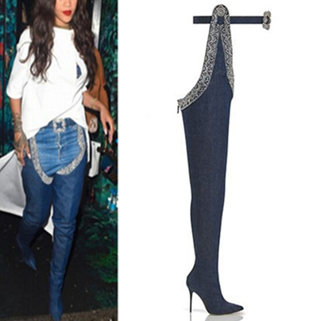 3b01005d1d3 Trendy Design Beading Belted Thigh High Boots Sexy Stiletto Heel Pointy  Boots Plus Size Fashion Shoes Women