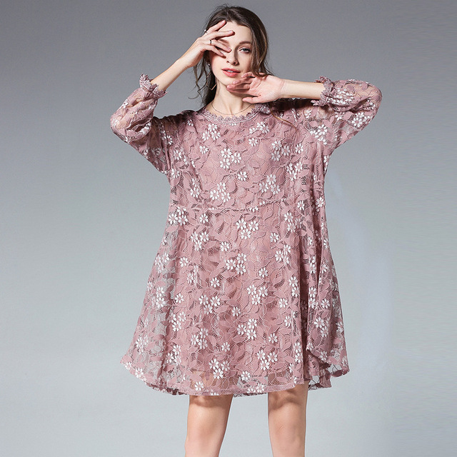 2018Spring fashion women long sleeves cute Lace Dress loose fit elegant  party beautiful dress temperament vestidos 8f3b21ffae93