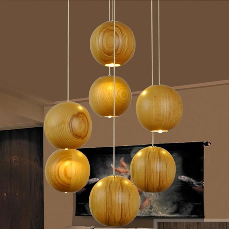 Nature en bois Massif boule moderne plafond pendentif lampe G4
