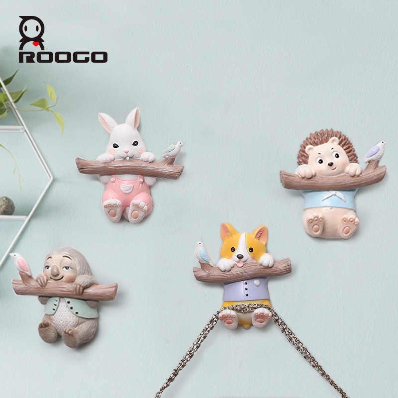 Soporte de llave Roogo decoración de pared para el hogar percha magnética Animal lindo gancho de puerta para decoración de habitación de niños