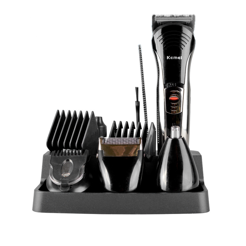Professionell Kemei KM-590A 7-i-1 elektrisk rakapparat Grooming Beard Hair Clipper Cutting Mäns Razor Hair Trimmer Kit