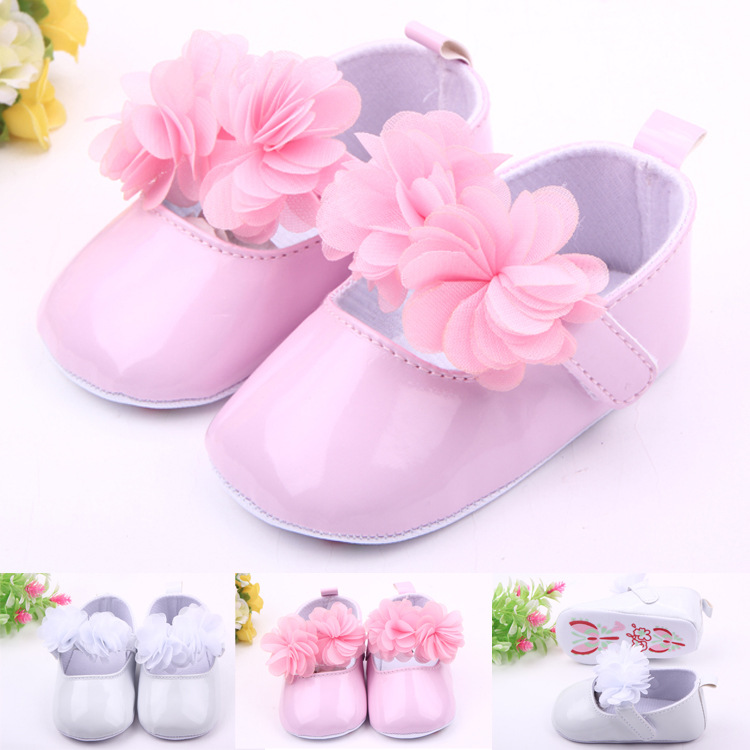 Classic Children Baby Kids Boy Girl PU Flower Floor Shoes Autumn Fashion Non-Slip Soft Toddlers First Walkers