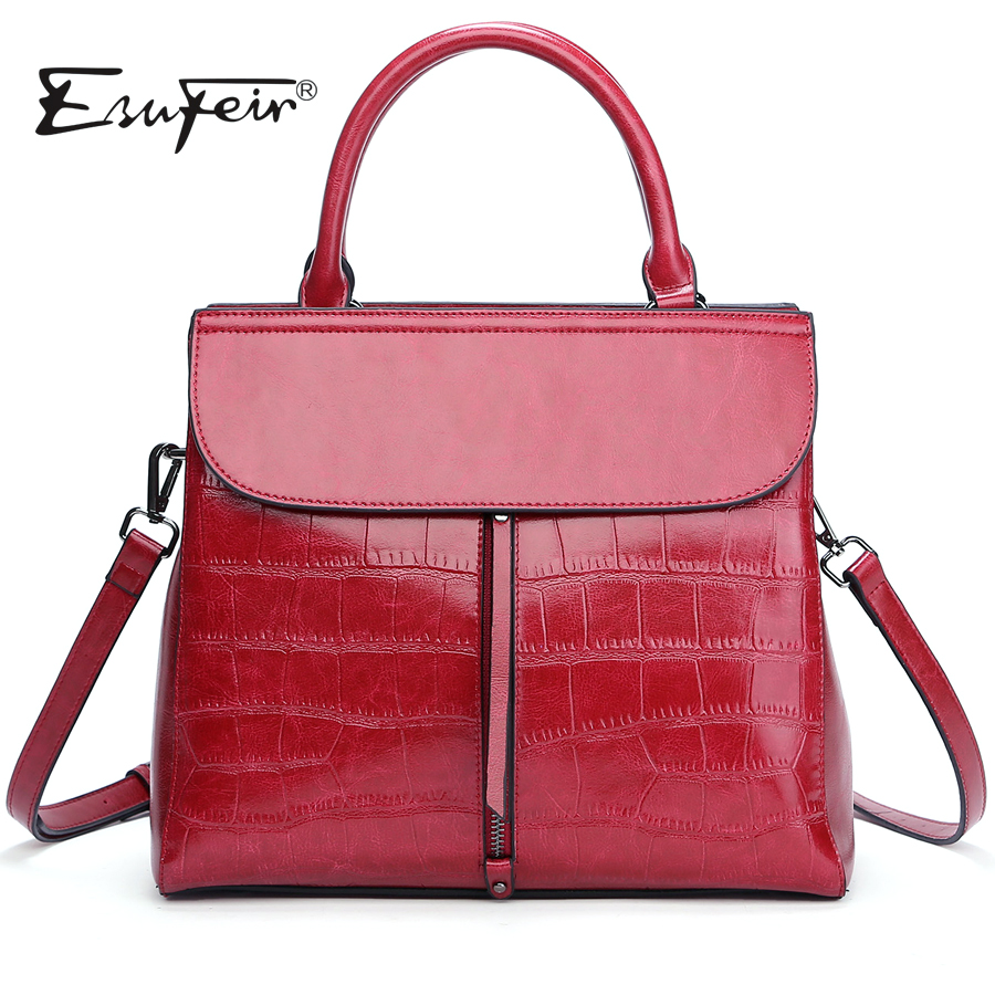 New 2018 ESUFEIR Brand Stone Pattern Women Bag Soft Genuine Leather Women Handbag Fashion Shoulder Bag Femal Top-Handle Bag esufeir brand genuine leather women handbag cross pattern cow leather shoulder bag fashion design top handle trapeze women bag