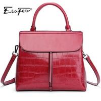New 2017 ESUFEIR Brand Stone Pattern Women Bag Soft Genuine Leather Women Handbag Fashion Shoulder Bag