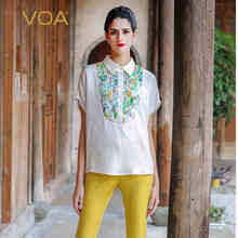 VOA 2017 Summer White Blouses Women Novelty Short Sleeve Print Turn-Down Collar Blusas Feminina Shirts Female B7580