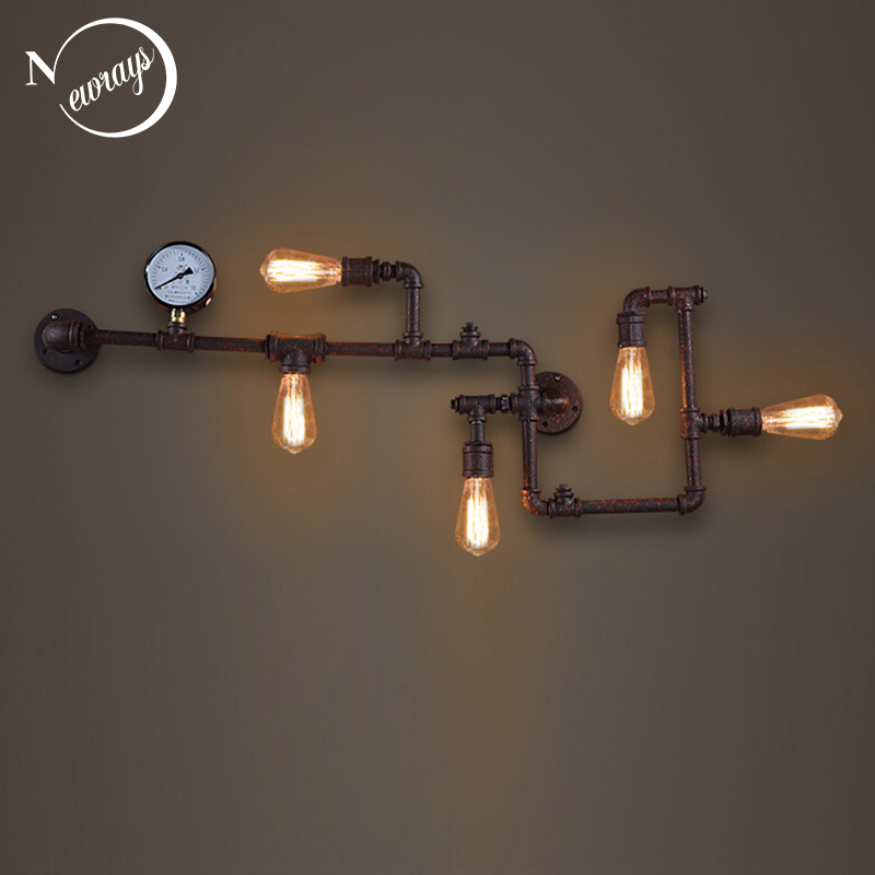 Steam punk Loft Industrial iron rust Water pipe retro wall lamp sconce wall lights E27 LED for living room bedroom bar cafe loft steam punk big sword style decorative iron rust water pipe wall lamp vintage e27 led sconce lights for living room bedside