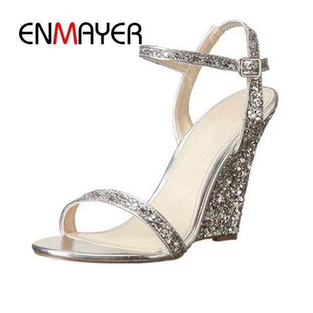 716425b0985 ENMAYER 2018 New style women Bling shining silver wedges lady elegant wedding  shoes Big size 34-43 ZYL212