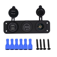 12V/24V Cigarette Lighter Socket led Digital Voltmeter Dual USB for ATV RV SUV ship yacht