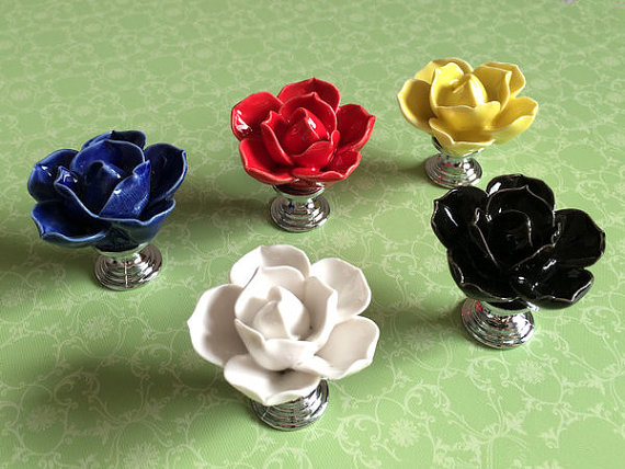 Flower Knob Dresser Knobs Drawer Handles / Kitchen Cabinet Knobs Pull Handle Ceramic Rose Lotus Black Blue Yellow White Red