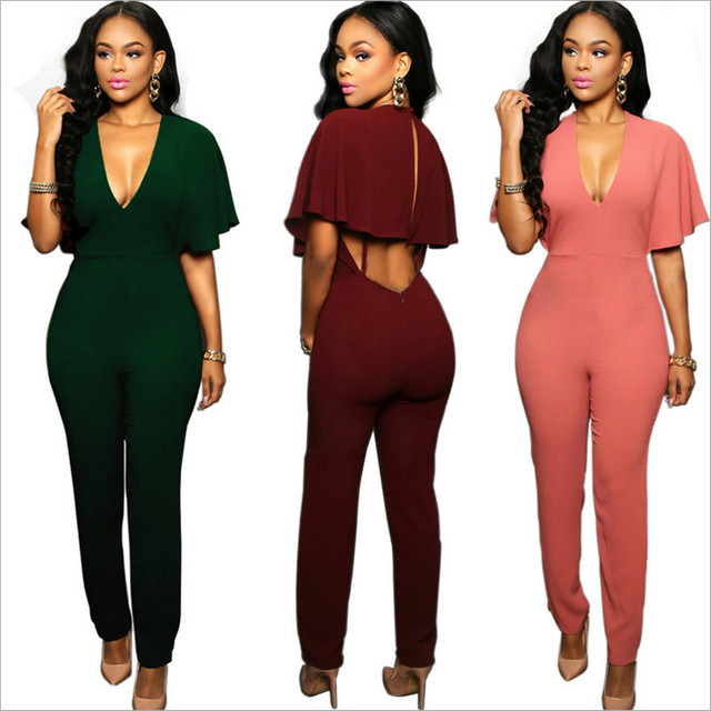 2019 Women jumsuits \u0026 rompers sexy night club ruffles backless fashion women  jumpers European and American style for women