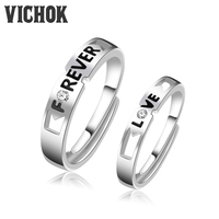 VICHOK Top Quality 925 Sterling Silver Platinum Plated Lovers Ring Set For Women Men Resizable Jewelry
