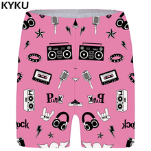 KYKU Music Shorts Women Pink Harajuku Casual Short Pants High Waist Skinny 3d Printed Sexy Ladies Womens Summer 2018 New