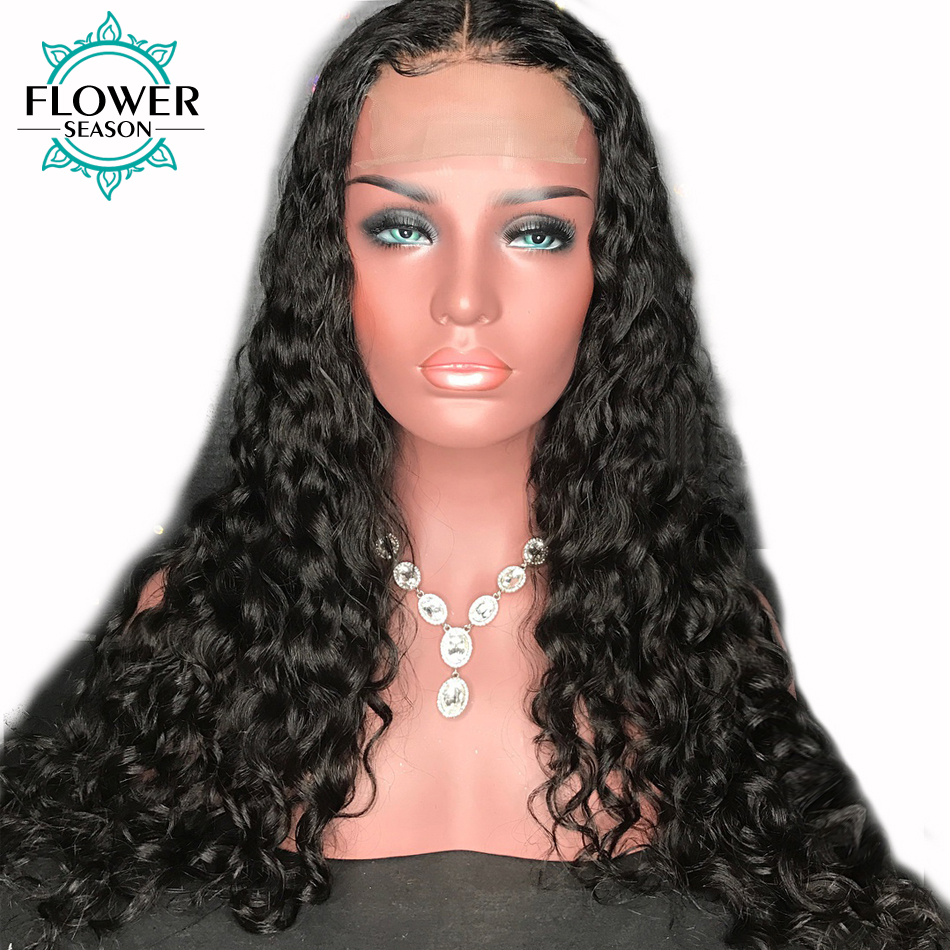 FlowerSeason Curly 13x6 Deep Parting Lace Front Human Hair Wigs For Black Women With Baby Hair Brazilian Non Remy Pre Plucked