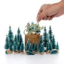 34 шт. мини-Рождественская елка Снежный Мороз маленькая сосна DIY ремесло настольное украшение Рождественские украшения елочные украшения