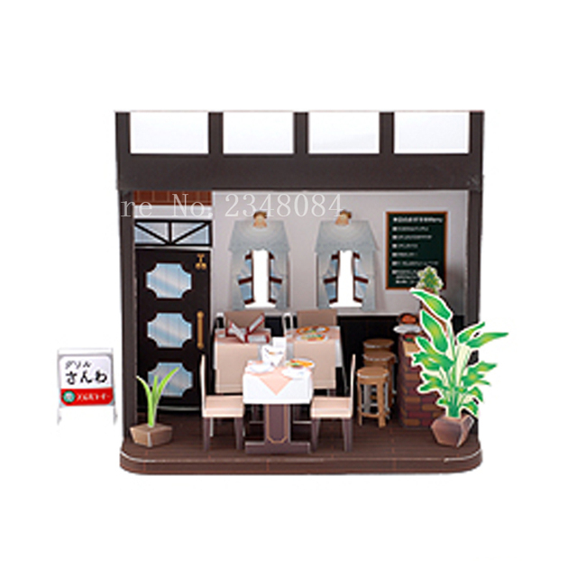 Japanese 3D Paper Model Buildings Western Restaurant Craft Cube DIY Manual Puzzle Handmade Papercraft Toys