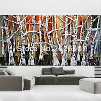 Hand Painted Landscape Palette Knife Gold Red Black White Textured Tree Oil Painting On Canvas Modern Home Decoration Fine Art