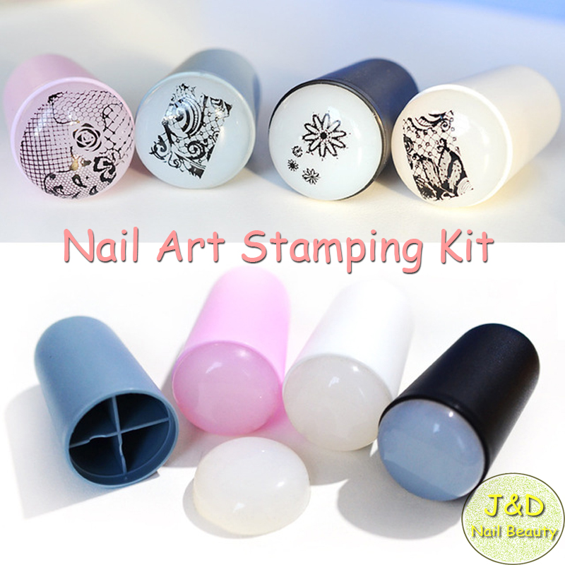 FOREVERJASMINE 4set Soft Silicon Nail Art Stamping Kit Nail Gel ...