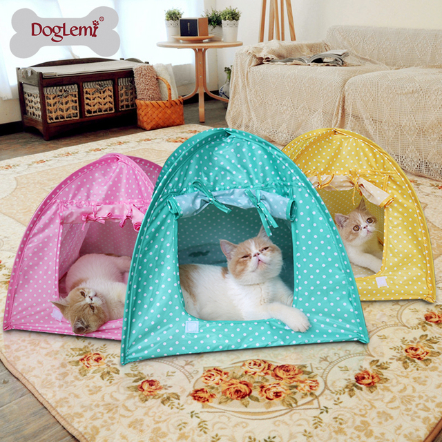 Cute Polka dots Foldable Pet Cat Kitty Tent House C& Water Resistant 3 colors & Cute Polka dots Foldable Pet Cat Kitty Tent House Camp Water ...