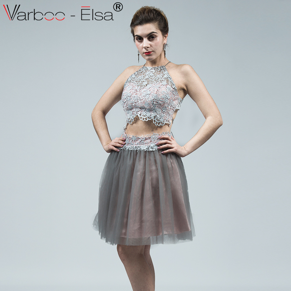 VARBOO_ELSA Fashion Bandages Short Prom Dresses 2018 Gray Lace Two ...
