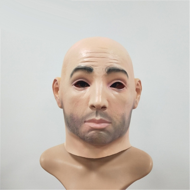 New Artificial Man Latex Mask Hood Full Face Wig Human Skin Face Disguise  Prank Halloween costume Realistic silicone Man Mask