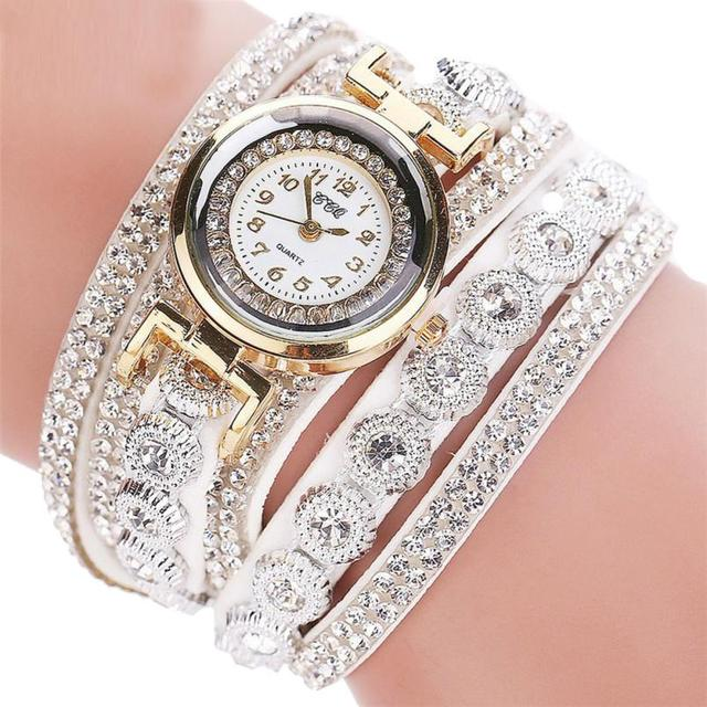 Women Fashion Rhinestone Analog Quartz Wristwatches Women's Bracelet Watches rel