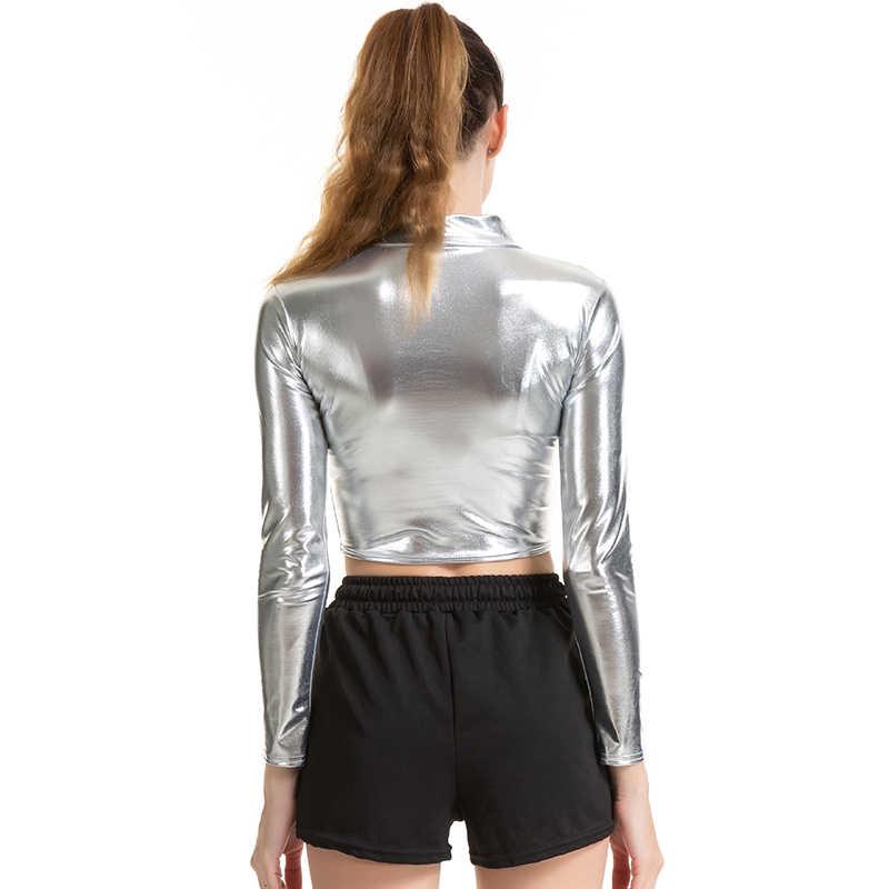 CHSDCSI PU короткий топ женский блестящий кожаный топ Высокая уличная водолазка танцевальная клубная одежда с длинным рукавом Топы золотые серебряные костюмы футболка