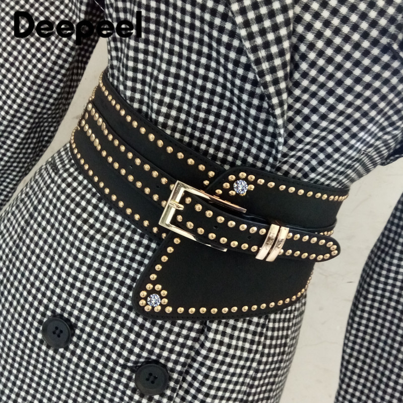 Deepeel Fashion Female Cummerbunds Metal Rivet Rhinestone Decorative Wide Belt Clothing Skirt Tape PU Crafts Jeans Accessories