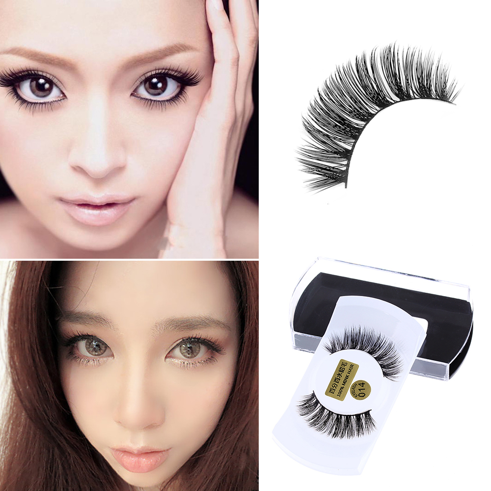 c5e6e28bc7a 1 Pair 100% Real Mink Hair Black Natural Thick False Fake Eyelashes Women  Lady Eye Lashes Makeup Extension Tools-in False Eyelashes from Beauty &  Health on ...