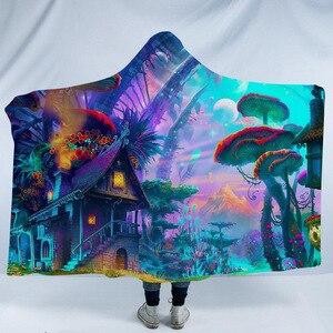 Огромный гриб с капюшоном, одеяло для взрослых, детей, 3D, психоделический пейзаж, шерпа, флис, кровать, одеяло s, путешествия, кемпинг, мантия, ...