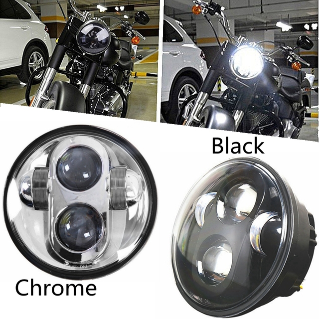 "Chrome/Black 5.75"" 3/4 LED Driving Headlight for Harley Dyna 883 XL1200 48 Night Road"