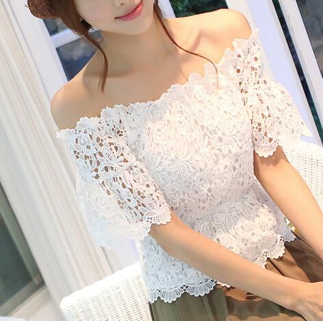 Sexy White Lace Blouse Tropical Blusa Blusas Top Woman Clothes Hollow Top lace white short Womens Tops Fashion 2016 off shoulder