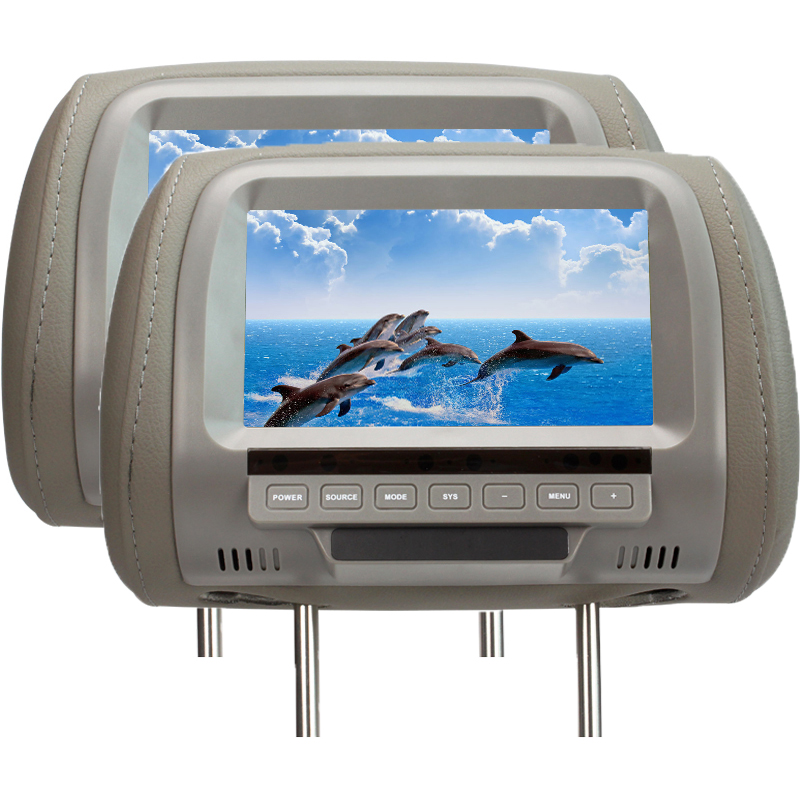 One Pair 7 inch TFT LED digital screen car headrest monitor Gray Black Beige colors 2- way input car headrest monitor