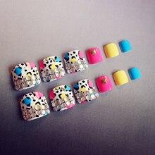 kawaii fake toe nails colorful adorable 24pcs toe nails tips flower pearl decoration oval toenails short