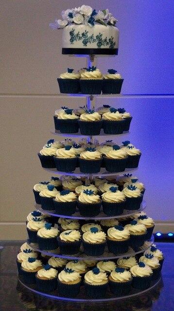 Free Shipping Custom Modern Design 7 Tier Acrylic Wedding Cake Stand