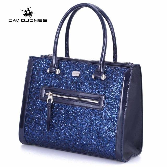 DAVIDJONES women shoulder bags faux leather female handbag large lady  sequin messenger bag girl crossbody bag drop shipping 37894f0dfca2e
