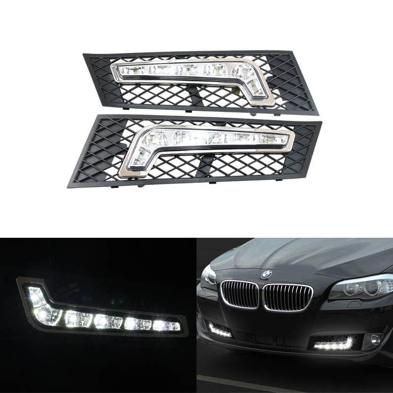 12V 12W Car Styling White Led Daytime Running Lights DRL Driving Fog Daylights For BMW F10