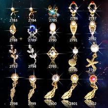100pcs new Alloy 3D Nail Art Stickers Leaf shell starfish  jewelry Glitter nail gel tools nail DIY Rhinestone Decorate stud