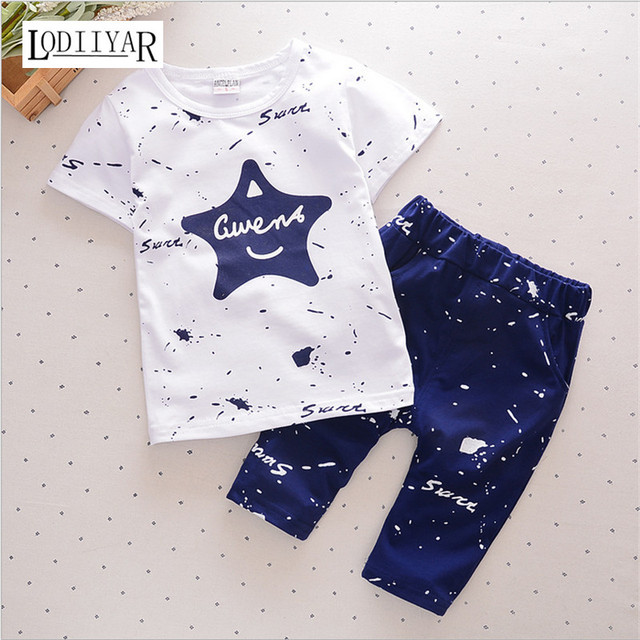 Baby Boys Girls Clothing Sets Children Top T-shirt + Pants Sets Kids Cute Star Letter Pattern Clothes Casual Suits 2017 Summer