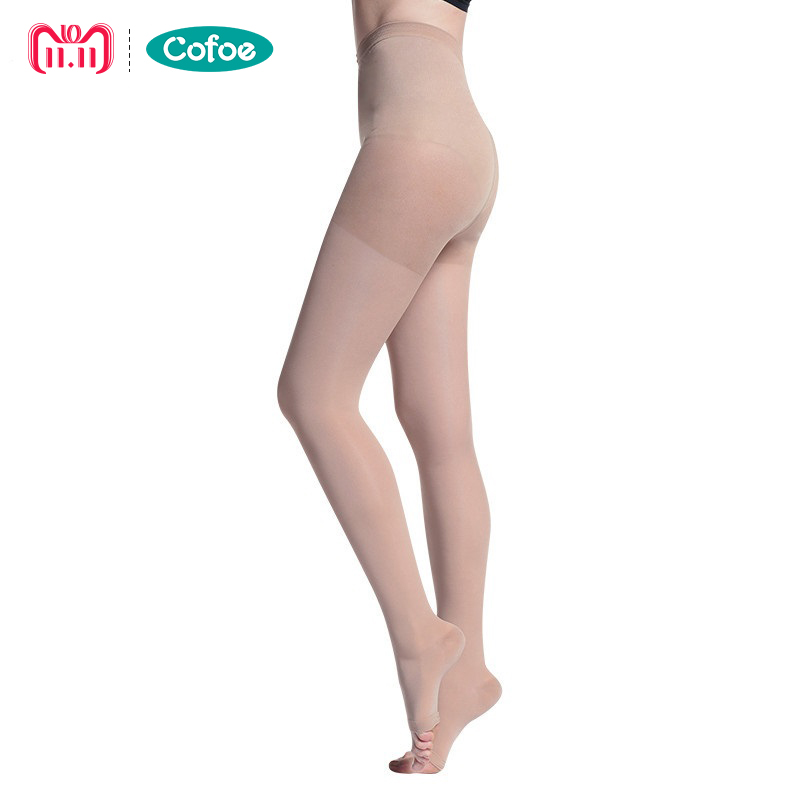 Cofoe Lady Medical Compression Pantyhose 23-32mmHg Open/Close Toe Compression Stockings Tights for Varicose Veins Skin&Black цена