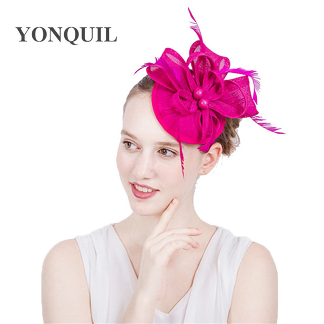 Ladies fancy races royal wedding hats fascinators feather hair accessories  party tocados sombreros bodas imitation sinamay hats 60cd5898a4e