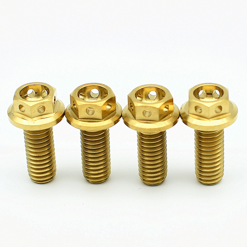 Titanium bolts M6 10-50mm DIY MTB Ti /Gold/ Muticolor Hollow Flange Head  Outer Hexagon Ti screws Ti fastener pack of 4pieces