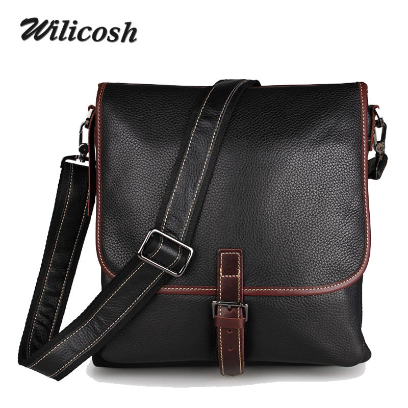 100% Genuine Leather  Men Messenger bags Cowhide Men Bag Fashion Shoulder Crossbody Bags Handbags Men's Travel esporte Bag WL187