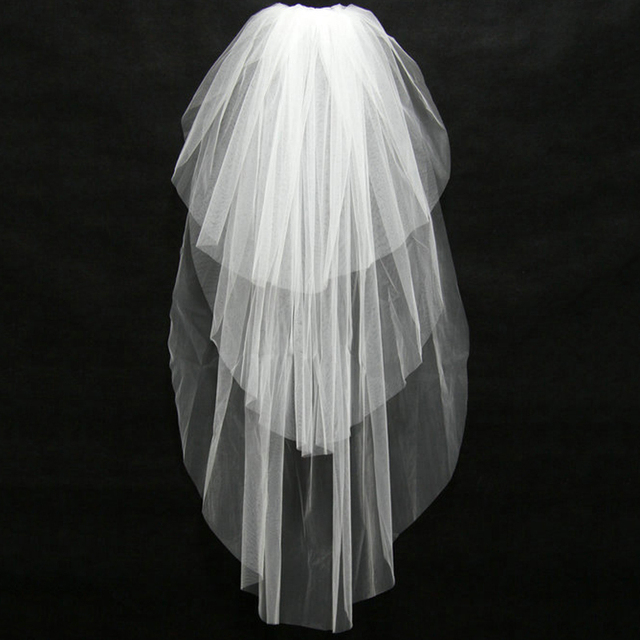 JAEDEN Bridal Veils Three Layers Tulle Cut Edge Light Ivory without Beads Simple Bridal Wedding Accessory V049