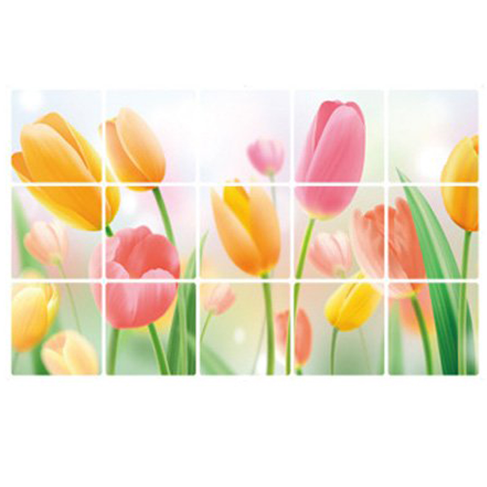 Romantic Tulips Wall Decals for Kitchen Grease Oil Proof Stickers 73*45cm