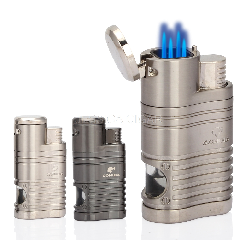 COHIBA Pocket Portable Metal Lighters Windproof 4 Blue Flame Fire Jet Torch Cigar Cigarette Lighter With Gas Window Cigar PunchCOHIBA Pocket Portable Metal Lighters Windproof 4 Blue Flame Fire Jet Torch Cigar Cigarette Lighter With Gas Window Cigar Punch