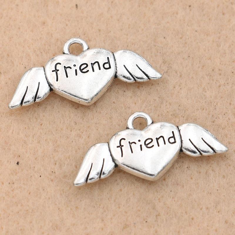 10PCs Tibetan Silver Tone Wing Pendant Angel Charm Fashion Jewelry Findings
