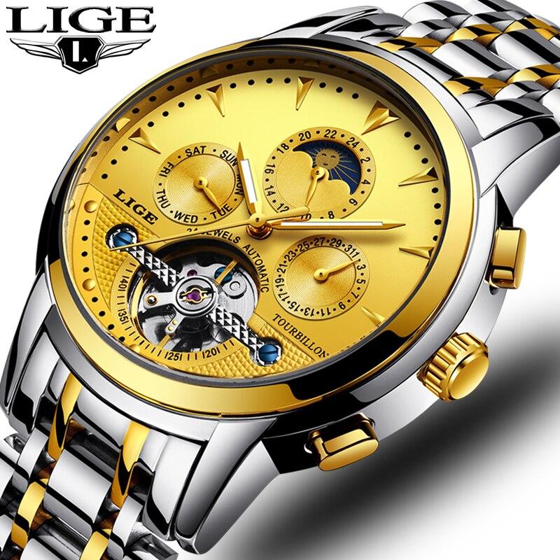LIGE 2018 New Men Fashion Leather Automatic Mechanical Tourbillon Watch Calendar Moon Phase Sports Watches Relogio Masculino+Box