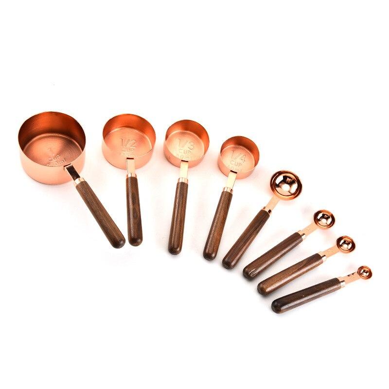 Kupfer Messbecher und Löffel Set von 8, Top-Qualität Edelstahl, spiegel Polnischen Kupfer-Überzogene Finish