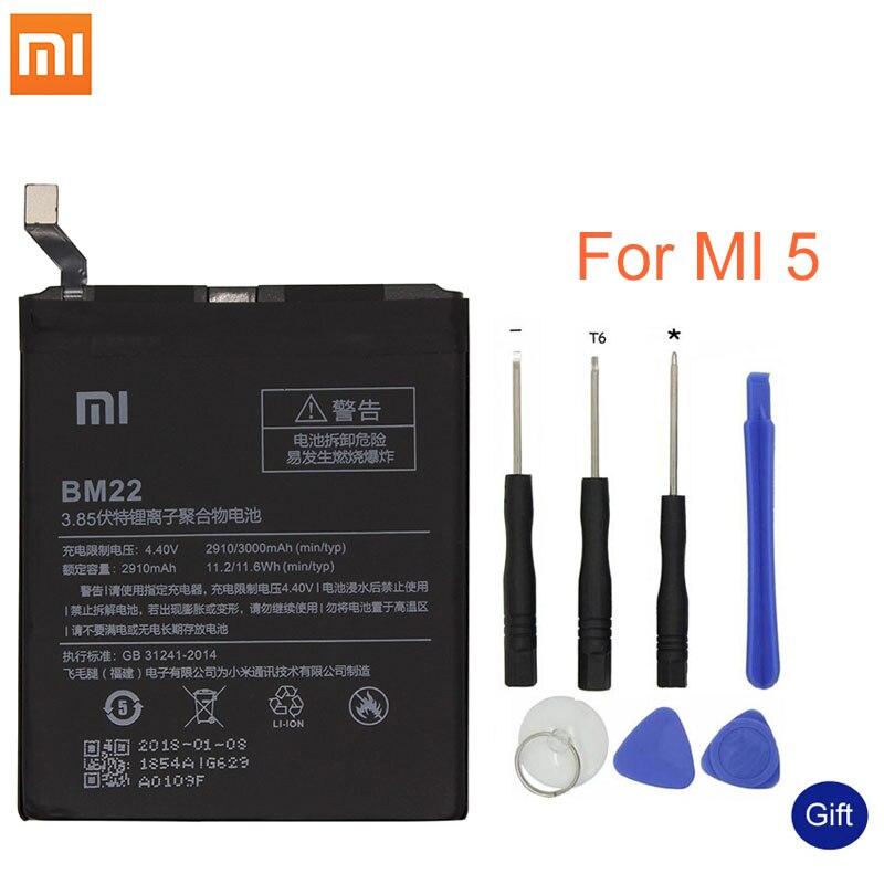 Xiao mi Original teléfono batería BM22 para Xiaomi mi 5 mi 5 M5 3000 mAh reemplazo de alta calidad de la batería al por menor paquete de herramientas libres